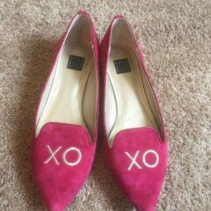 XO pink flats White House Black Market